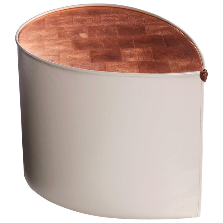 """""""Candy"""" Side Table in Leather and Copper Leaf by Artist Florian Roeper For Sale"""