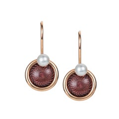 Victor Mayer Candy Wine Red Enamel and Akoya Pearls Earrings 18k Yellow Gold