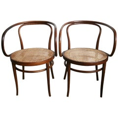 Cane and Bentwood Chairs after Thonet 209, 1940s