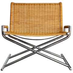 """Cane and Chrome Plated Steel """"Sled"""" Chair, USA, 1966"""