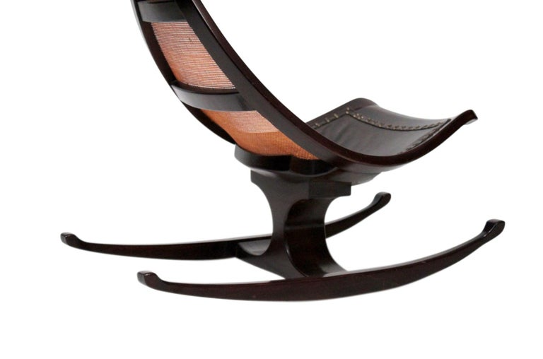Cane and Exotic Wood Rocking Chair For Sale 2