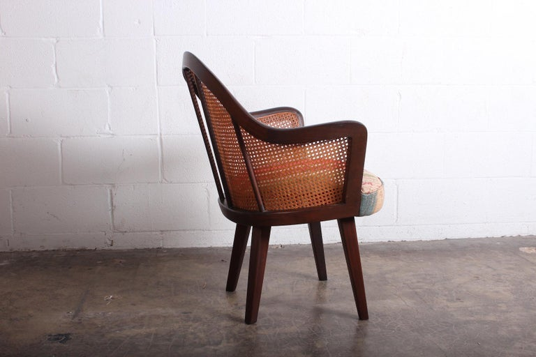 Mahogany Cane Armchair Attributed to Harvey Probber For Sale