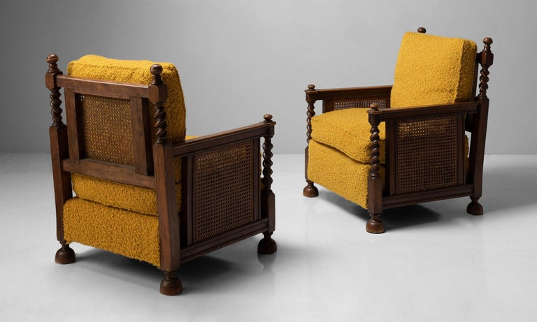 French Cane Armchairs in Textured Wool Blend by Pierre Frey