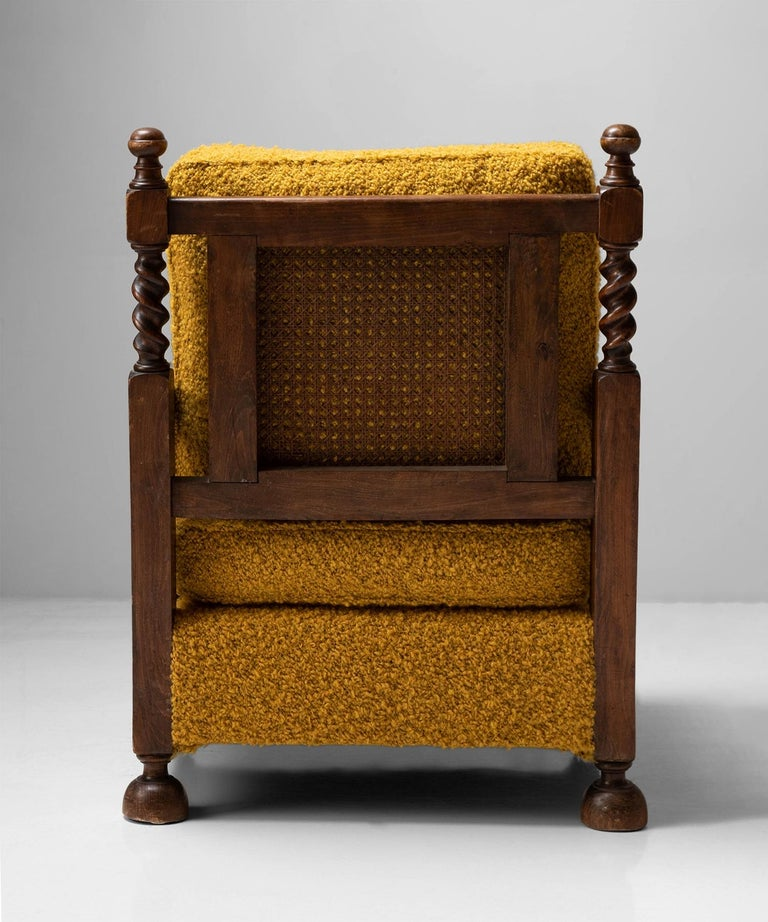 Cane Armchairs in Textured Wool Blend by Pierre Frey In Good Condition In Culver City, CA