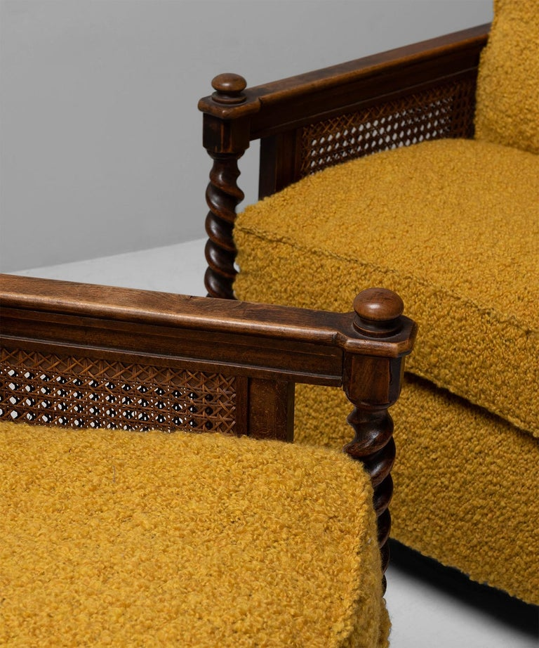 20th Century Cane Armchairs in Textured Wool Blend by Pierre Frey