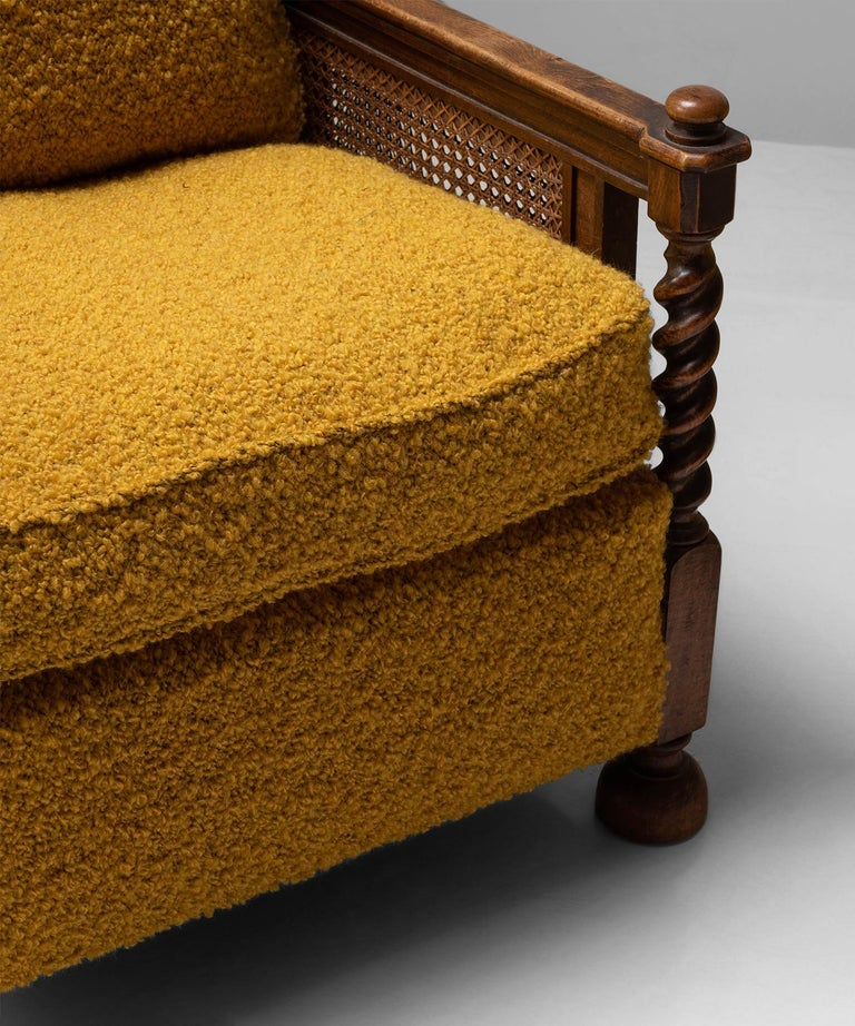 Cane Armchairs in Textured Wool Blend by Pierre Frey 1