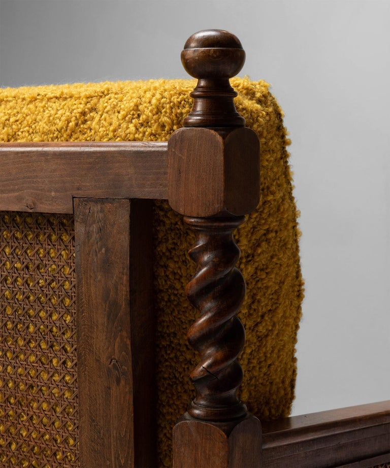 Cane Armchairs in Textured Wool Blend by Pierre Frey 3