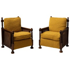 Cane Armchairs in Textured Wool Blend by Pierre Frey