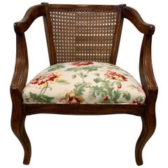 Cane Back Armchair with Linen Floral Upholstery