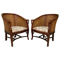 Cane Back Carved Wood Swan Club Chairs