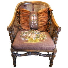 Cane Carved Wood French Armchair with Flower Tapestry, 19th Century