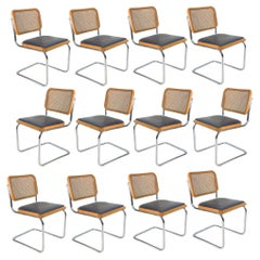 Cane Cesca Chair by Marcel Breuer with Navy Seat, Multiple Available