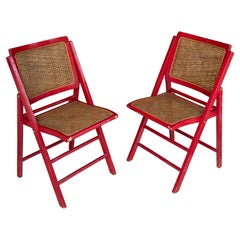 Cane Folding Chairs Set of 2, France 1970, Red Color