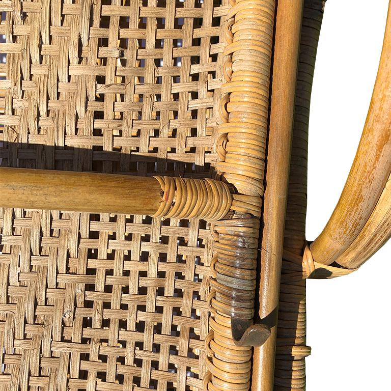 Cane Pretzel Wood And Bamboo Patio Lounge Chair Hidden