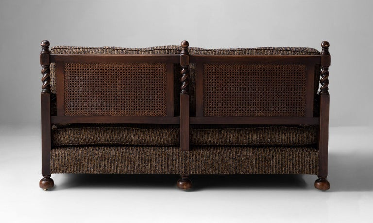 Cane Sofa in Textured Wool Blend by Pierre Frey For Sale 3