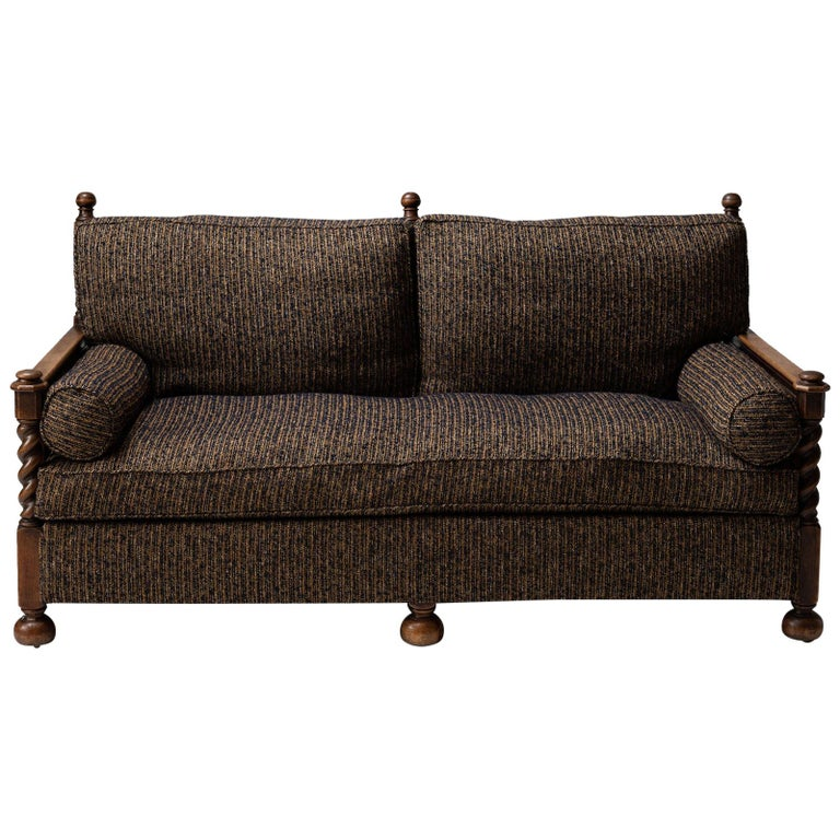 Cane Sofa in Textured Wool Blend by Pierre Frey For Sale