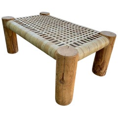 Cane Wicker Wrapped Modern Rustic Wood Bench Table