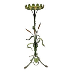 Cane with Flower Handmade Iron Pedestal, 1930s