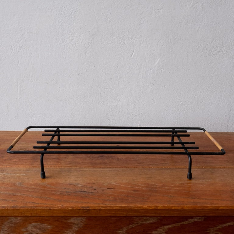 Metal Cane Wrapped Rack by Laurids Lonborg of Denmark For Sale