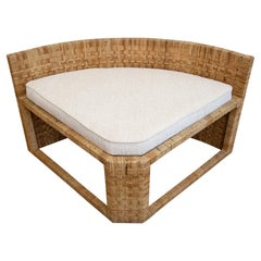 Caned Angled Corner Bench with Upholstered Cushion Vintage