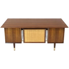 Caned Back Overhanging Floating Banded Top Large Brass Hardware Executive Desk