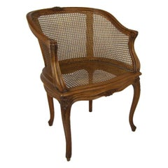 Caned French Louis XV Bergere Armchair