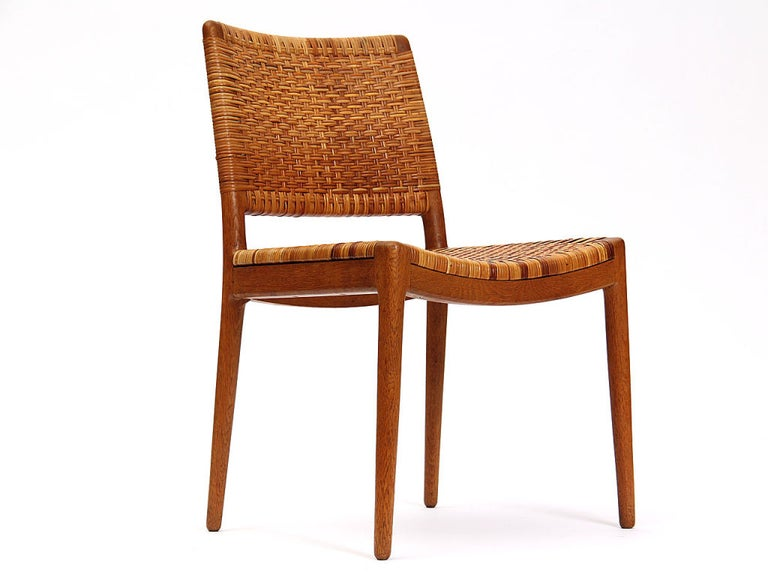 Scandinavian Modern Caned Oak Chairs by Hans Wegner For Sale