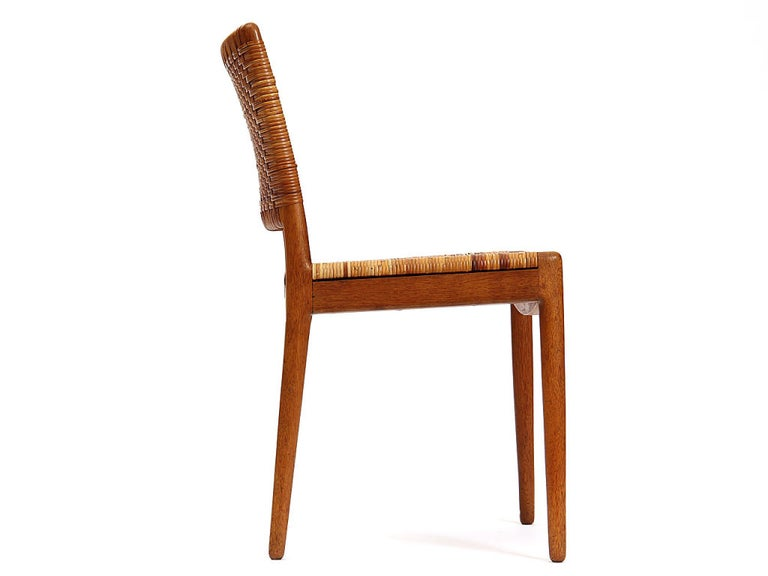 Danish Caned Oak Chairs by Hans Wegner For Sale