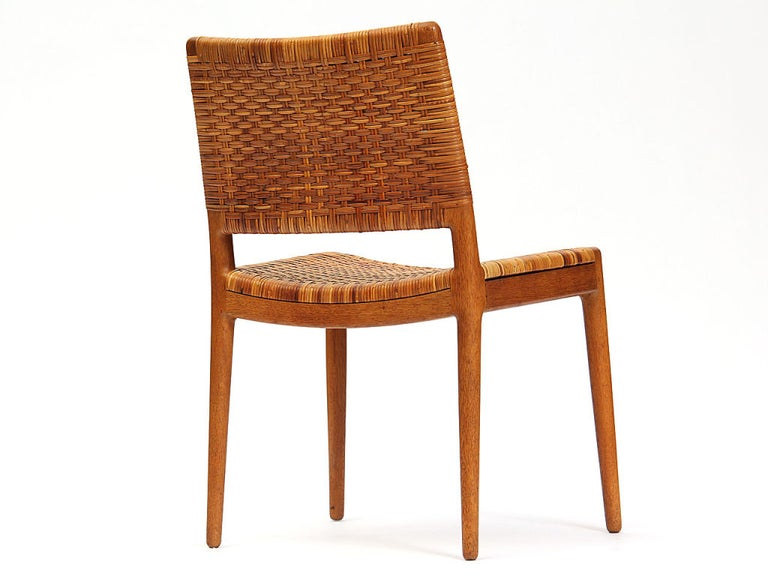Caned Oak Chairs by Hans Wegner In Good Condition For Sale In New York, NY