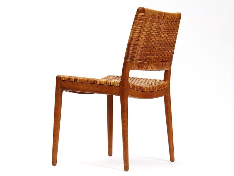 Caned Oak Chairs by Hans Wegner For Sale 1