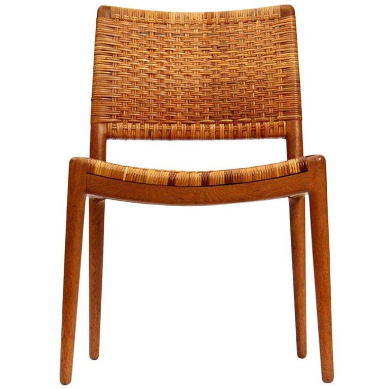 Caned Oak Chairs by Hans Wegner For Sale