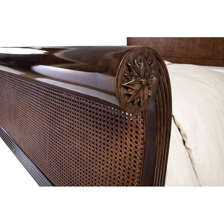 English Caned Regency Sleigh King Bed For Sale