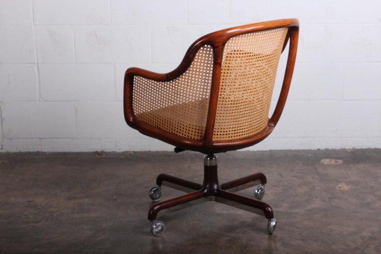Caned Swivel Desk Chair by Ward Bennett For Sale 5