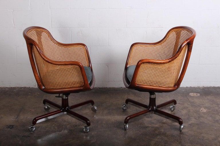 Caned Swivel Desk Chair by Ward Bennett For Sale 6