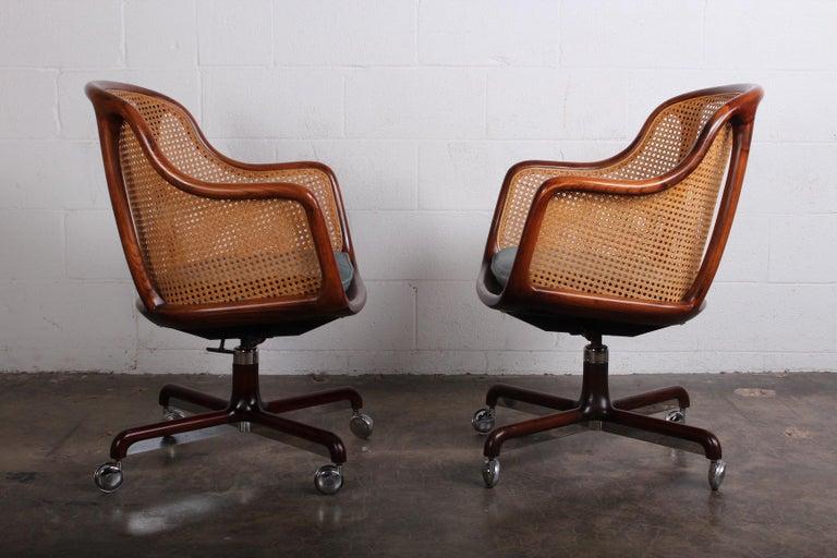 Caned Swivel Desk Chair by Ward Bennett For Sale 7