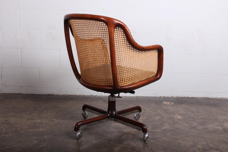 Ash Caned Swivel Desk Chair by Ward Bennett For Sale