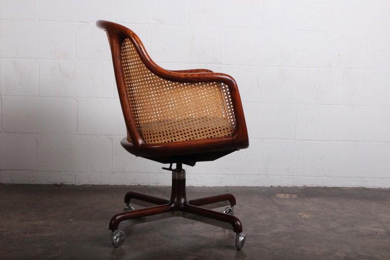 Caned Swivel Desk Chair by Ward Bennett For Sale 2