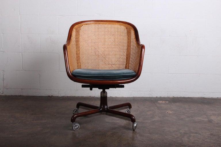 Caned Swivel Desk Chair by Ward Bennett For Sale 3