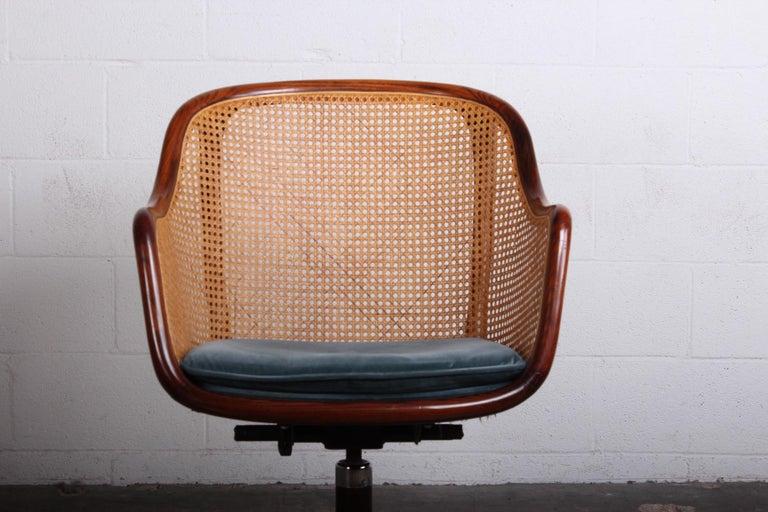 Caned Swivel Desk Chair by Ward Bennett For Sale 4