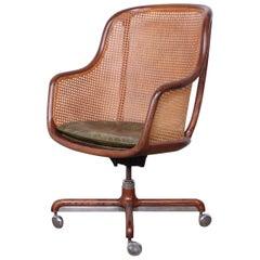 Caned Swivel Desk Chair by Ward Bennett