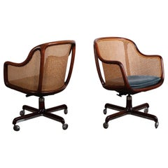 Caned Swivel Desk Chair by Ward Bennett