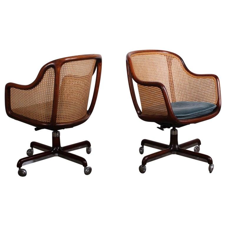 Caned Swivel Desk Chair by Ward Bennett For Sale