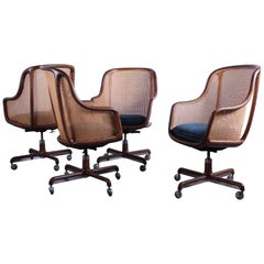 Caned Swivel Desk Chairs by Ward Bennett
