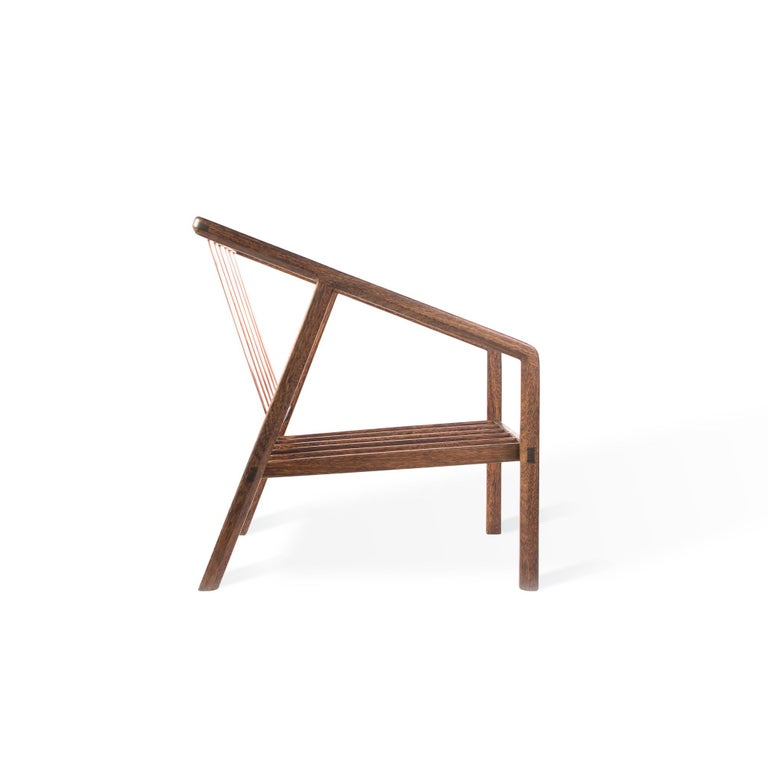 Hand-Crafted Canela Contemporary Armchair in Brazilian Hardwood by Knót Artesanal For Sale