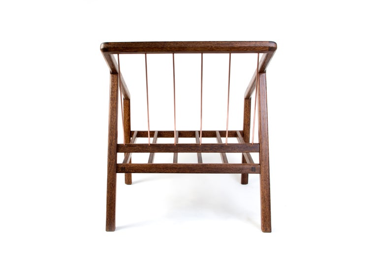 Copper Canela Contemporary Armchair in Brazilian Hardwood by Knót Artesanal For Sale