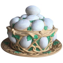 Majolica Caneware Egg Basket Tureen Wilhelm Schiller and Sons