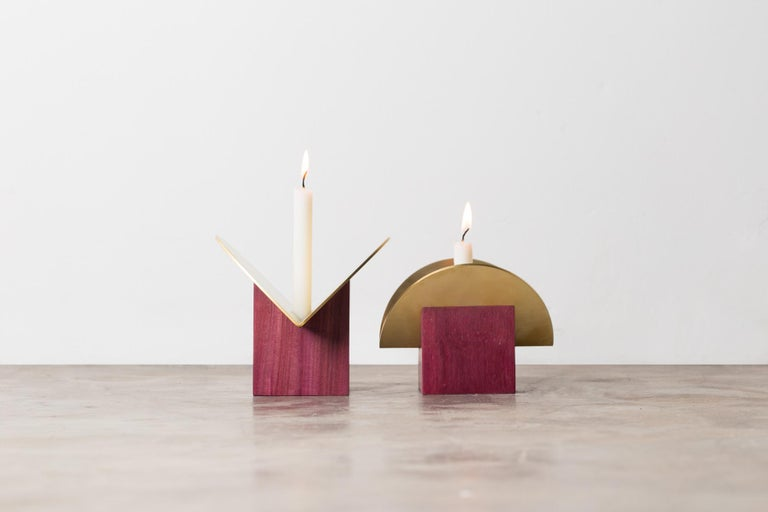 Set of Contemporary Wooden Vases and Candlesticks, Cangaço Collection For Sale 3