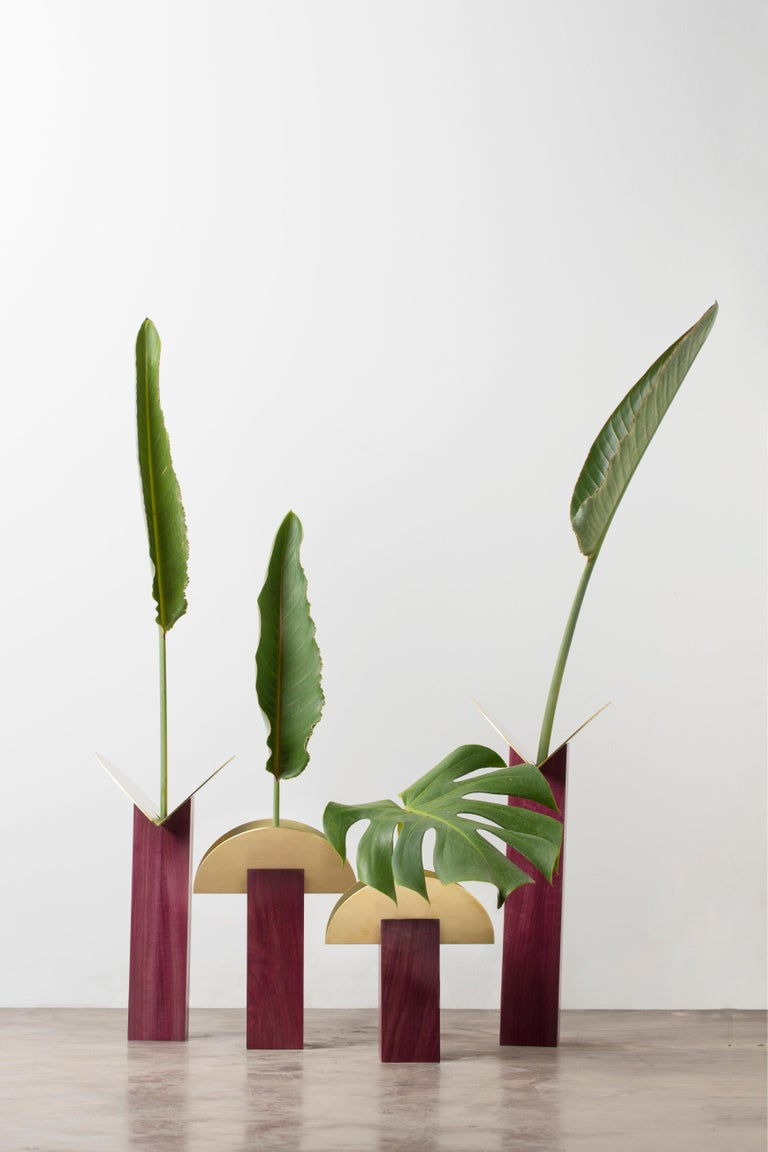 Minimalist  Set of Contemporary Wooden Vases and Candlesticks, Cangaço Collection For Sale