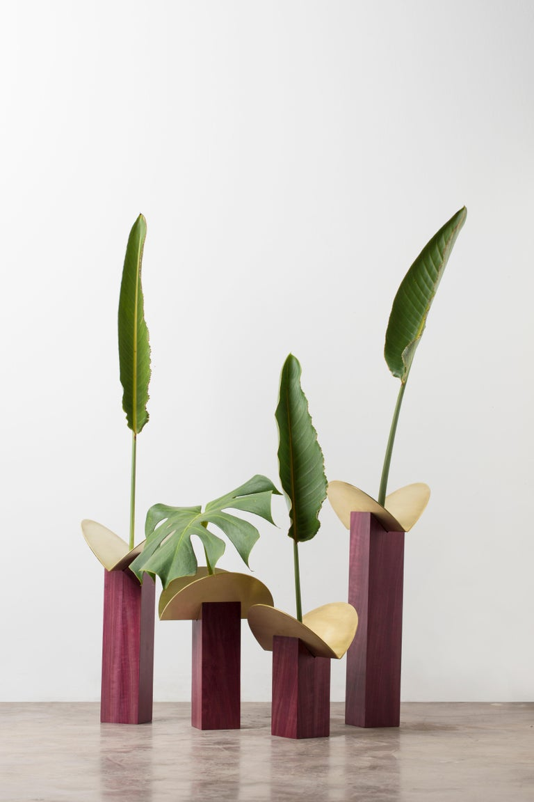 Brazilian  Set of Contemporary Wooden Vases and Candlesticks, Cangaço Collection For Sale