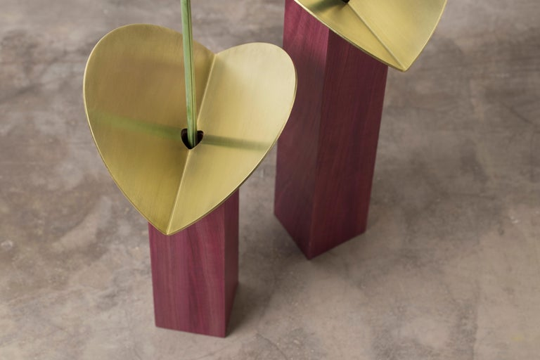 Brushed  Set of Contemporary Wooden Vases and Candlesticks, Cangaço Collection For Sale